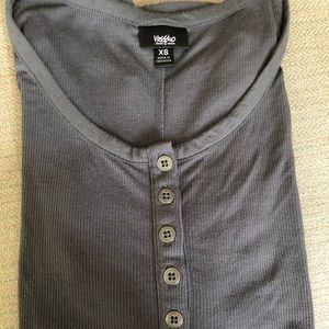 Gray 1/4 button up and 1/3 length sleeves